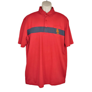 USC Team Trojan Official Embroidered Logo Polo Shirt XXL 2XL Burgundy Striped