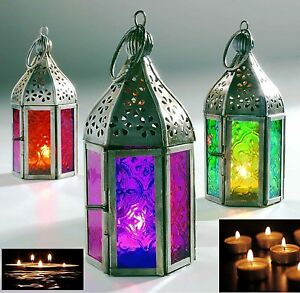 Moroccan Mini Iron Tonal Glass Lanterns Tealight tea Light Holder Home Garden