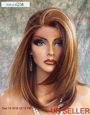 Lace Front Wig HAND TIED HEAT FRIENDLY FS8.27.613 SOFT STRAIGHT LAYERS USA 1125