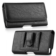 Black Business Leather Horizontal Belt Clip Loop Pouch Holster Phone Holder