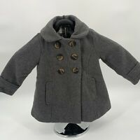 Old Navy Toddler Girls Peacoat 2T Gray Double Breasted Lined Pockets Wool Blend