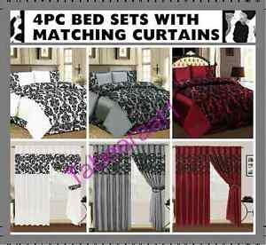 4PC FLOCKED DAMASK COMPLETE BEDDING SET Duvet Cover Set Bed Linens Match Curtain
