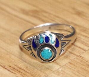 Indianerschmuck Ring 925er Sterling Silber Navajo Lapislazuli Türkis 18mm