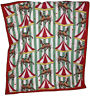 """Baby Child Lap Quilt Vintage Blanket Tied 40"""" x 35"""" Carousel Horse Circus As Is"""