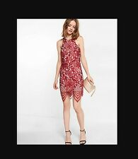 NWT Express Floral Lace Contrast Sheath Mini Dress in Red • Small