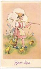 CPA - Joyeuses Pâques  Jeune fille Oeufs et poussins - Carte fantaisie - Vierge
