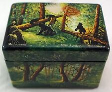 Vintage Russian lacquer Morning in a Pine Forest Bears trinket box w/ MOP signed