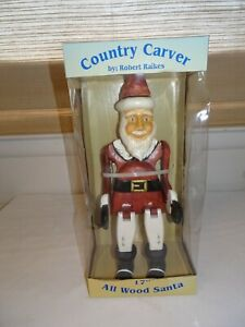 "Robert Raikes All Wood Santa Claus 17""  MIB w/ COA   RARE  Christmas"