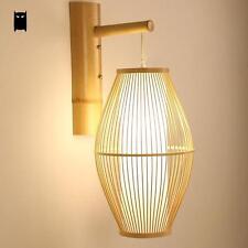 Bamboo Wicker Rattan Lantern Wall Lamp Fixture Asian Sconce Light Living Bedroom