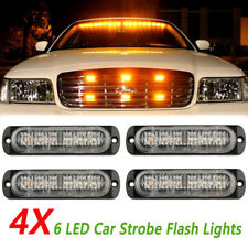 4x Amber Recovery Strobe 6 LED Flashing Light Grill Breakdown Beacon Lamp Car