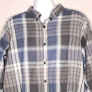 Columbia Size XXL Button Up Front Long Sleeve Gray Plaid Shirt Regular Fit Mens