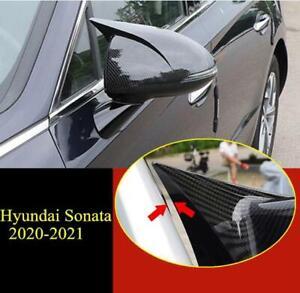 ABS Carbon Fiber ox horn Door Mirror Cover trim 2x FOR Hyundai Sonata 2020-2021
