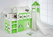 Lit mezzanine de Jelle blanc avec tour + Toboggan enfants Lilo Tracteur Vert