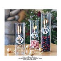 Clear Glass Oil Lamp Room Light Decor Alcohol Kerosene Burner Wedding 12cm
