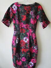 ASOS DRESS ROSES Black Pink Red 1950s 60s Pockets Pencil  Sz 4  6 Eur 32  BNWT