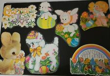 Seven Vintage Cardboard Easter DieCut Decorations Spring Bunny Lamb Wall