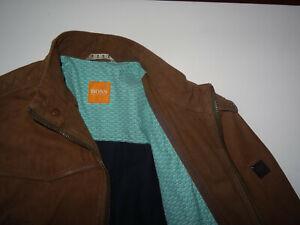 Neu HUGO BOSS Gr.48 M Orange Label Lederjacke Braun Rindsleder Jalos Jacke 38R