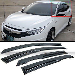 Fits 16-20 Honda Civic 4DR Mugen Style Wavy UV Window Visor Vent Shade Sun Rain