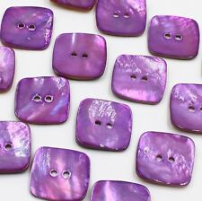 """10p 40L 25mm 1"""" Natural Real Pearl Shell Purple Square Button Decoration Crafts"""