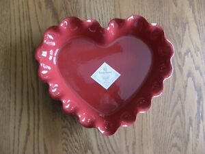 Williams Sonoma Emile Henry Ruffled Red Heart Pie Dish - Wedding,Bridal,Love-New