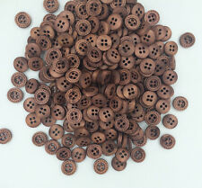 100pcs Wood Buttons Sewing 4 Holes Round Brown Clothing accessories 12mm