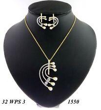 Traditional Cubic Zirconia Baguettes Pendant Earring Set 32 WPS 3