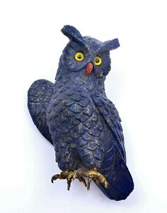 Lapis Lazuli Carved Carving Owl Bird Figure Gilt Solid Silver Talons 709 Gram