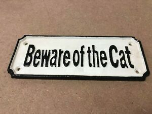 Cast Iron Beware of The Cat Sign | Vintage Style Hand Painted Hanging Plaque