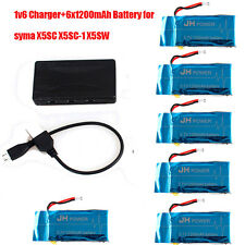 6pcs 3.7v 1200mah 20c Lipo Battery and 1v6 Charger for Syma X5SC X5SW X5SC-1