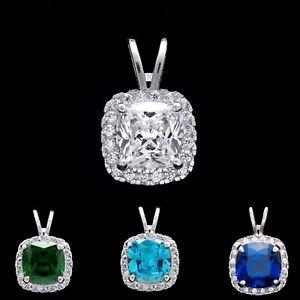 1.50tcw Cushion Gemstone Halo Created Diamond Pendant Solid 14k White Gold Charm