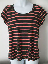 George -BLACK/CORAL, STRIPED C-Neck Short Sleeved 100% Cotton T-Shirt size 18