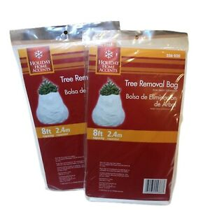 Lot of 2 Holiday Home Accents Merry Christmas Tree Removal Bag 8ft White 326 020