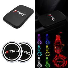 TRD TOYOTA Carbon Fiber Car Center Armrest Cushion Mat Pad + Led Cup Holder Pad