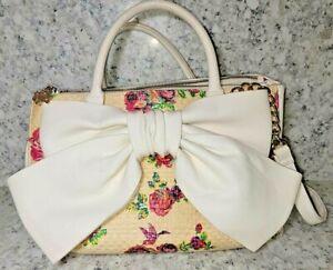 Betsey Johnson Triple Entry Satchel Shoulder Bag Large Floral Bow Blush $108