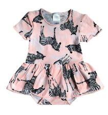 GIRLS BONDS Pink Stitch Zebra Stretchie Ballet Balletsuit - Size 000 / 0 - 3 mth