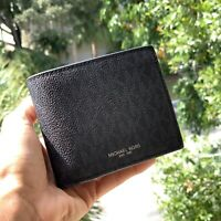 Michael Kors Men Small Bifold Money Wallet Slim Leather PVC Black Card id Holder