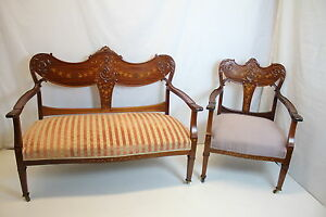 English Edwardian Mahogany Inlaid Settee and Matching Chair, Circa 1910s'