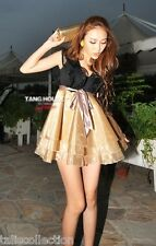 Black Lace Top w/ Gold Ruffle Layer Bubble Cocktail Party Races Cute Dress 1804