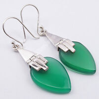 """925 PURE Silver GREEN ONYX Flat Drop BALLWIRE Earrings 1.8"""" Valentine's Day Gift"""