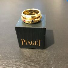 Piaget Engraved Yellow Gold Possession Ring with Diamond, Sapphire & Ruby