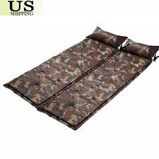 2 Camping Self-Inflating Air Mat Mattress Pad Outdoor Hiking Sleeping Bed Pillow