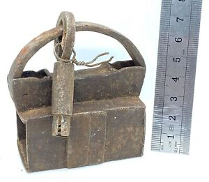 A Square Antique Wrought Iron Lock with key - 18th Century nice item