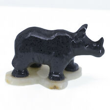 """Unique Hand Carved Marble Stone Painted Rhinoceros Figurine Carving 3"""" Long New"""