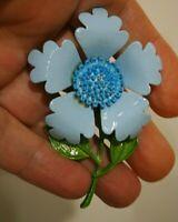 VINTAGE SKY BLUE ENAMEL FLOWER BROOCH GREEN LEAF