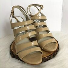 MICHAEL KORS Womens Size  8 1/2 Patent Strappy Sandals Beige