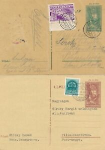 Budapest 1918 / Rede 1929  - Two Uppgraded Stationary postcards