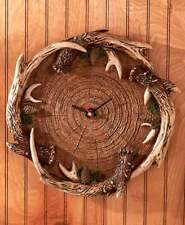 Antler Wall Clock Hunting Cabin Country Rustic Lodge Woodland Home Decor Deer
