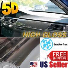 """5D Carbon Fiber """"ULTRA GLOSS"""" Vinyl Paint Wrap DIY Sticker Film 12""""x60"""" 5FT x1FT"""