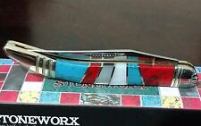 STONEWORX HUNTING POCKET KNIFE W/ MOTHER OF PEARL TURQUOISE HANDLES TOOTHPICK !