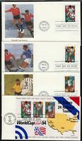 1994 World Cup Soccer  Sc 2837 Souvenir Sheet of 3 & singles FDCs Fleetwood